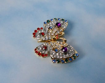 Gorgeous gold tone with Multi-colored Rhinestones Butterfly Brooch/Pin