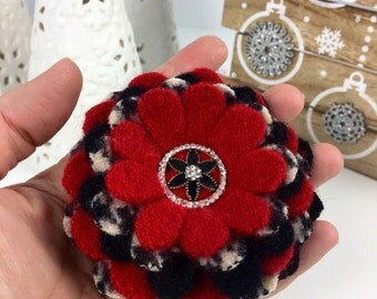 Handcut Felted Wool Flower Brooch Pin - Red Black White Houndstooth with Rhinestone Earring Center