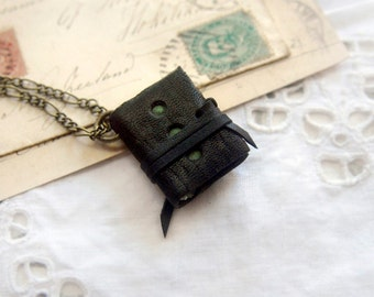 Hinterlander - Miniature Wearable Book, Black Recycled Leather, Deep Green Pages - OOAK