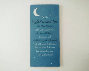 Night You Were Born Quote Baby Sign, Moon and Stars Nursery Wall Art, Serein, Night Sky Blue Childrens Decor, 11 x 23 Inches, Baby Keepsake
