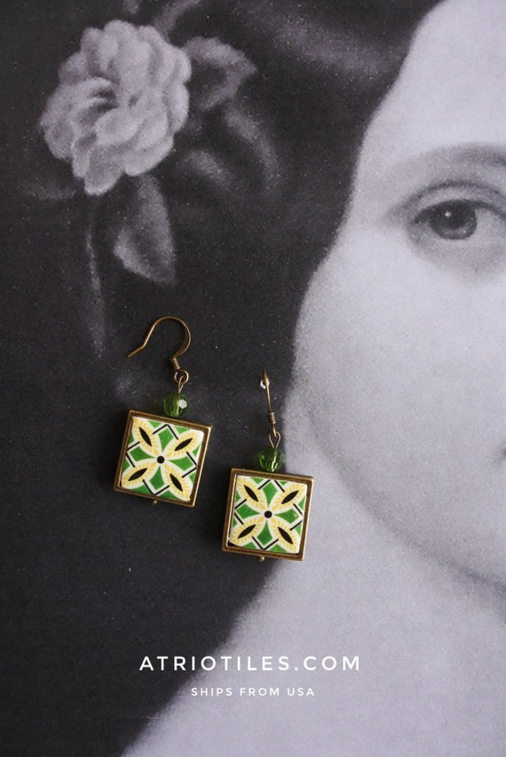 Earrings Tile Portugal Antique Azulejo Portuguese Framed OVAR and Aveiro Portugal - Green Tribal  (see photos)  Gift Boxed - reversible 964