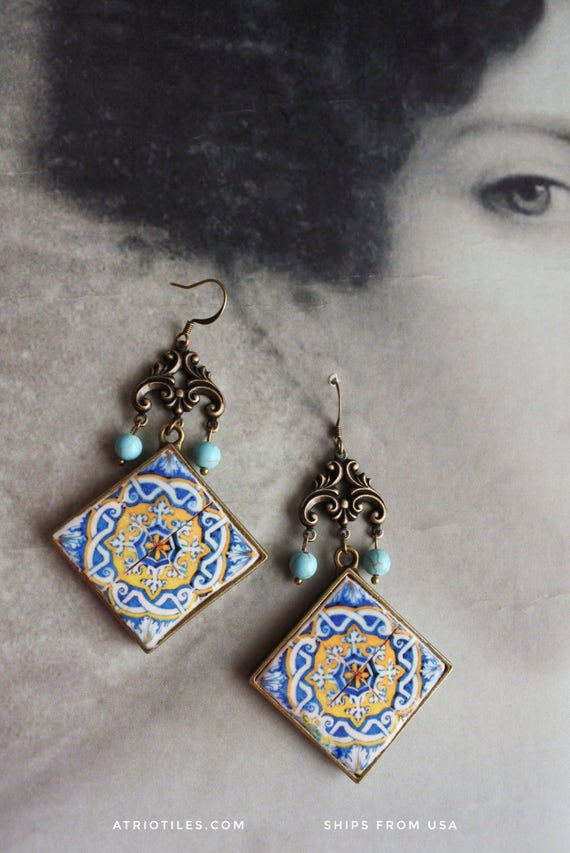 Chandelier Earrings Portugal Antique Azulejo Tile 17th Century  Majolica Mosaic Igreja Madre de Deus, Lisboa and Ericeira Church 616