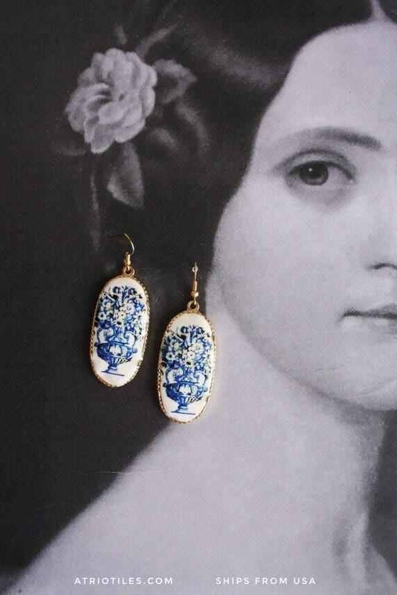 Earrings Portugal Antique Azulejo Tile Replica Earrings - Church of Mercy Evora Blue Travel History Flowers Frieze