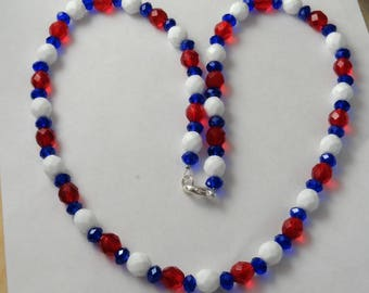 """Red, White and Blue 20"""" Faceted Bead Necklace"""