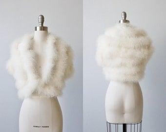 Vintage White Marabou Bolero Shrug Jacket / Bridal Jacket / Swan