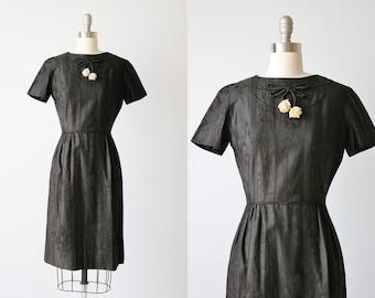 Vintage 1960s Black Dress with Rose Bow / Little Black Dress