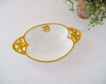 RS Prussia Small Dish, Oval Bowl Trinket Soap Dish, Monogram Initial W or M, White Porcelain With Heavy Gold Trim, Germany