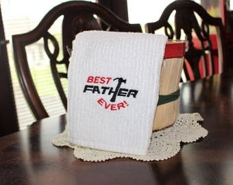 Best Father Ever Embroidered Towel