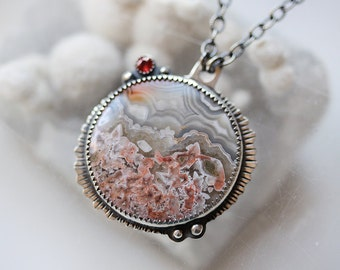 Agate and Sapphire Statement necklace/ Scenic Agate/ Red Sapphire Accent/ Pink Gray Red Necklace/ Medallion Necklace/ Textured Sterling