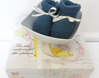 Knitted Baby Booties - Teal