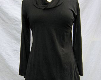 Organic Black Cowl Neck Top