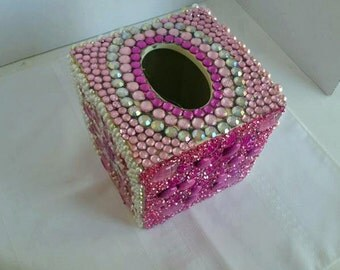 Pink Embellished Tissue Box