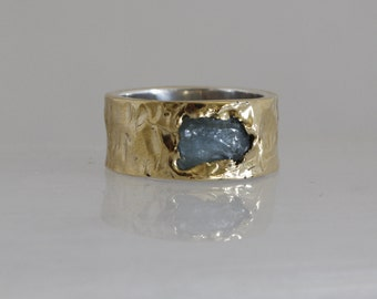 Wide band , Engagement gold ring for men, Natural aquamarine ring, Rough Aquamarine band, 925 silver band ring.