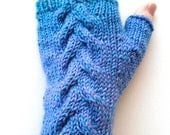Handknit Fingerless Gloves for Women, Teen Girls, Texting Gloves, Ladies Gloves, one of a kind, cable pattern, blue lavender gloves, wool