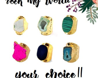 Turquoise Geode Druzy Ring Adjustable Hammer Gold Plated Cigar Band Large Wide Chunky Boho Bohemian Teal Blue Green Gray Hot Pink Neon Agate