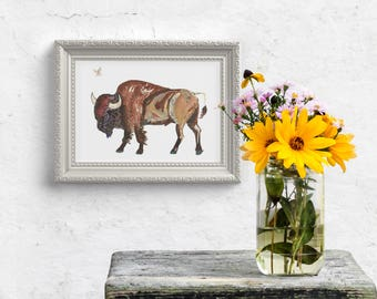 Bison American Buffalo - Limited Edition Fine Art Print Rustic Mens Gift