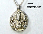 The Elephant God GANESH Sterling Pendant on Sterling Silver 925 Chain, Small Amulet Necklace, A CLASSIC,