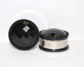 "Black Crystal Wedding Plugs 1"" 25mm Single Flare"