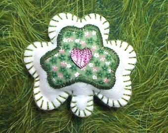 White/Green Shamrock | Holidays | St. Patrick's Day | Irish Decor | Party Favor | Spring Decor | Tree Ornament | Handmade | Folk Art | #4