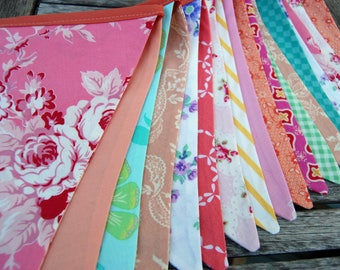EXTRA LONG Pink, Peach, Coral, Aqua Vintage Theme Bunting, Fabric Banner - Wedding Bridal Decoration, Photo Prop, Birthday Party - 18 Flags