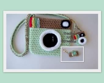 Camera Purse, Mint Green, Brown, Camera Bag, Camera Bag Purse, Stylish Camera Bag, Crochet, Fashion Camera Bag, Cute Camera Bag, Handmade