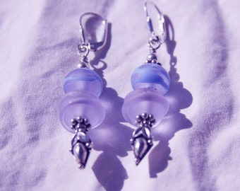 PRETTY IN PURPLE Handmade Lampwork Dangle Earrings, OoAK, Sterling Silver, Wearable Art