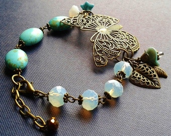 Romantic Butterfly Filligree Bracelet in Antiqued Brass, antiqued bronze with Turquoise howlite stone & iridescent faceted crystal rondelles