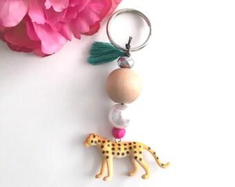cheetah keychain - beaded tassel keychain - bag charm keychain - bohemian womens accessory - women's gift