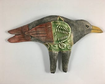 Ceramiic Bird Sculpture, wall Bird, wall decor