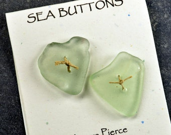 Set of two glowing sea foam pale green heart  shaped  sea/beach glass  buttons from the coast of Maine