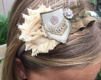 Military Headband with flower, patch and ruffled trim