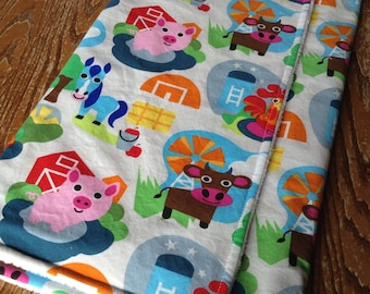 "Adorable Farm Animals Baby Blanket! Minky on Back 29""x34"""
