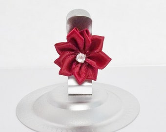 Silver Wedding Card Holder Set of 12 Stainless Steel Spring Clip with Burgundy Rhinestone Ribbon Flower, Buffet or Place Card Number Holder