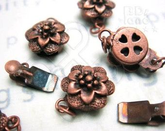 sales -50% / B617BZ / 8Sets / Diameter 10mm - Antique Copper Plated 1-Strand Flower Filigree Box Clasp Findings