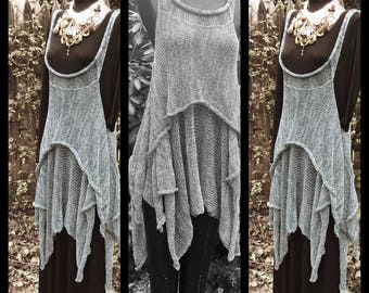 tunic top, over dress, layered look, handknit, langenlook, womens tunic dress, CUSTOM COLORS , high low style, knitwear