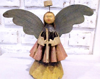 Vintage Mexican Brass Tin Metal Angel Tree Topper Primitive Folk Art Doll Figurine