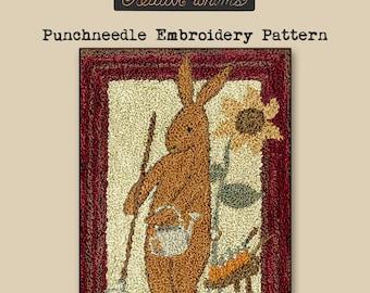 Punchneedle | Teresa Kogut | Pattern | Needlwork | DIY | Crafts | Prim Spring Rabbit | PN173