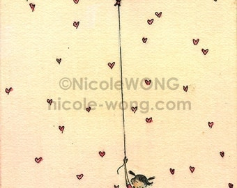 Original ACEO Watercolor Painting and Ink Drawing Artwork -- Valentine Hug