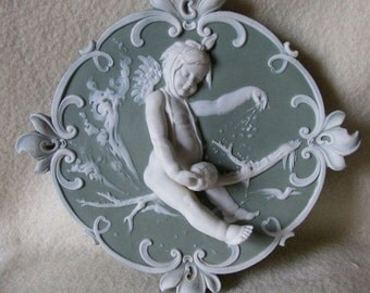 Antique German Jasperware Plaque of a Snow Angel, Cherub