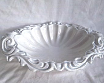 Vintage Ceramic Blue Under Glaze White Scroll Serving Bowl or Large Flower Display Bowl Vintage Home and Living Vintage Table Serving Bowl