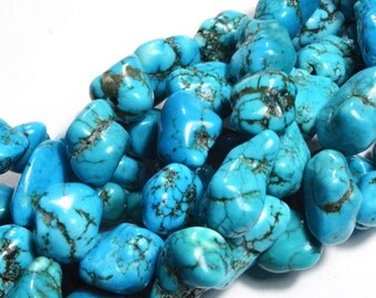 Natural Turquoise Blue Nugget Bibble Beads, 16 inch Strand