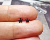 Tiny Black Star Stud Earrings, Sterling Silver Star Earrings, Star Stud earrings