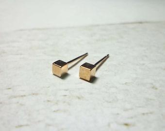 Tiny Rose Gold Cube Stud Earrings, Dainty Cube Earrings