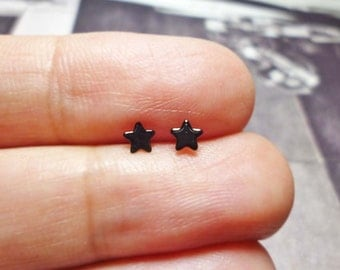 Tiny Black Star Stud Earrings, Sterling Silver Star Earrings, Star Stud earrings