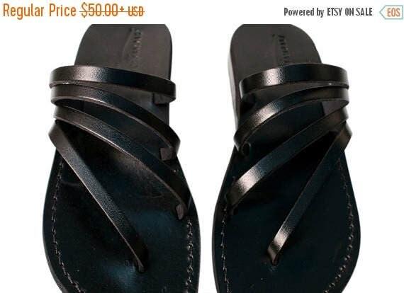 20% OFF Black Rainbow Leather Sandals for Men & Women - Handmade Unisex Sandals, Flip Flop Sandals, Jesus Sandals, Black Leather Sandals