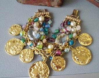 Gold Coin bracelet designed with recycled pieces- Vintage clasp - Glass beads - Goldtone chains - One of a Kind - bycat