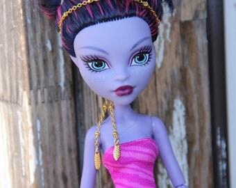 Tribal Leaf Headpiece Doll Jewelry Set for Petite Slimline Monster  Dolls
