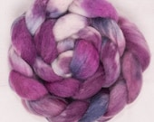 Hand dyed Cheviot roving, Cheviot, 100g, hand painted British wool top, roving, spinning,  fibre, fiber, spinning wool, Rock Rose