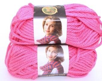 Lion Brand Yarn Hometown USA in Honolulu Pink - Lot of 2 Skeins