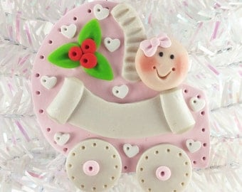 Baby Shower Favor - Baby Shower Gift - Personalized Baby's First Christmas Ornament - Baby Girl's First Christmas - 1114